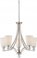 "Connie Polished Nickel Chandelier White Glass 26""Wx35""H"