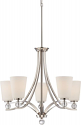 "Connie Polished Nickel Chandelier White Glass Shades 26""Wx35""H"