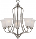 "Elizabeth Brushed Nickel Chandelier Frosted Glass Shades 25""Wx25""H"