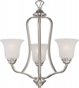 "Elizabeth Brushed Nickel Chandelier Frosted Glass Shades 21""Wx22""H"
