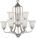 "Elizabeth Brushed Nickel Chandelier Frosted Glass Shades 27""Wx28""H"