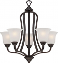 "Elizabeth ORB Bronze Chandelier Frosted Glass Shades 25""Wx25""H"