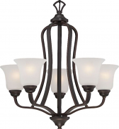 """Elizabeth ORB Bronze Chandelier Frosted Glass Shades 25""""Wx25""""H"""