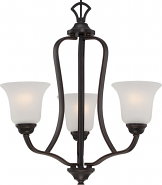 """Elizabeth ORB Bronze Chandelier Frosted Glass Shades 21""""Wx22""""H"""