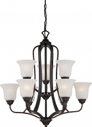 """Elizabeth ORB Bronze Chandelier Frosted Glass Shades 27""""Wx28""""H"""