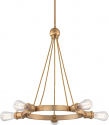 """Paxton Natural Brass Chandelier Edison Bulb 28""""Wx24""""H"""
