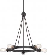"Paxton Aged Bronze Chandelier Vintage Edison Bulb 28""Wx24""H"