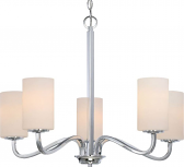 """Willow Polished Nickel Chandelier Glass Shades 27""""Wx21""""H"""