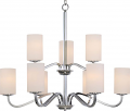 "Willow Polished Nickel Chandelier Glass Shades 32""Wx27""H"