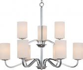 """Willow Polished Nickel Chandelier Glass Shades 32""""Wx27""""H"""