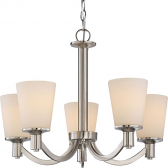 "Laguna Brushed Nickel Chandelier White Glass Shades 23""Wx17""H"