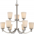 "Laguna Brushed Nickel Chandelier White Glass Shades 31""Wx28""H"