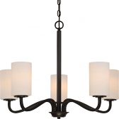 """Willow Aged Bronze Chandelier Cylinder Glass Shades 27""""Wx21""""H"""