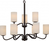 """Willow Aged Bronze Chandelier Cylinder Glass Shades 32""""Wx27""""H"""