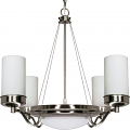 "Polaris Brushed Nickel Chandelier Opal Glass Drum Shades 28""Wx30""H"