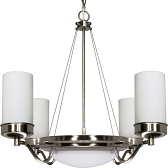 """Polaris Brushed Nickel Chandelier Opal Glass Drum Shades 28""""Wx30""""H"""