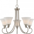 """Tess LED Polished Nickel Chandelier Fluted Glass Shades 27""""Wx23""""H"""
