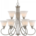 """Tess LED Polished Nickel Chandelier Fluted Glass Shades 33""""Wx30""""H"""