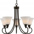 """Tess LED Aged Bronze Chandelier Fluted Glass Shades 27""""Wx23""""H"""