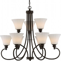 """Tess LED Aged Bronze Chandelier Fluted Glass Shades 33""""Wx30""""H"""