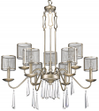 "Rita Washed Gold & Crystals Industrial Chandelier 29""Wx34""H - Sale !"