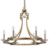"Peyton Raw Brass Crystal Chandelier 31""Wx25""H"