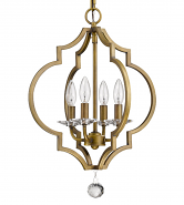 "Peyton Raw Brass Crystal Pendant Light 16""Wx21""H"
