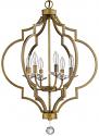"Peyton Raw Brass Crystal Pendant Light 21""Wx30""H"