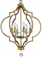 "Peyton Raw Brass Crystal Pendant Light 21""Wx30""H"
