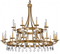 "Krista Antique Gold & Crystal Chandelier 48""Wx42""H"