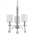 "Lily Polished Nickel Crystal Chandelier Drum Shades 16""Wx22""H"