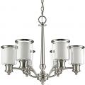 "Giuliana Satin Nickel Chandelier Glass Drum Shades 25""Wx21""H"