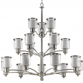 "Giuliana Satin Nickel Chandelier Glass Drum Shades 44""Wx43""H"