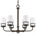 "Alexis Oil Rubbed Bronze Chandelier Glass Drum Shades 25""Wx21""H"