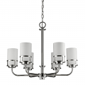 "Alexis Polished Nickel Chandelier Glass Drum Shades 25""Wx21""H"