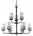 "Alexis Oil Rubbed Bronze Chandelier Glass Drum Shades 30""Wx31""H"
