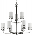 "Alexis Polished Nickel Chandelier Glass Drum Shades 30""Wx31""H"