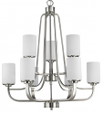 "Addison Satin Nickel Chandelier Glass Shades 28""Wx32""H"