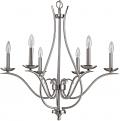 """Genevieve Satin Nickel Candlestick Chandelier 28""""Wx28""""H"""