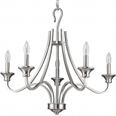 "Michelle Satin Nickel Candlestick Chandelier 28""Wx25""H"