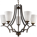 "Zoey Oil Rubbed Bronze Chandelier Glass Shades 25""Wx21""H"