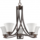 "Mia Oil Rubbed Bronze Chandelier Glass Shades 26""Wx21""H"