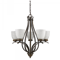 "Alana Oil Rubbed Bronze Chandelier Glass Shades 24""Wx25""H"