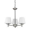 "Paige Satin Nickel Chandelier Opal Glass Shades 19""Wx19""H"