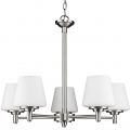 """Paige Satin Nickel Chandelier Opal Glass Shades 26""""Wx22""""H"""