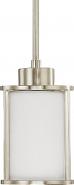 "Odeon Brushed Nickel White Drum Glass Mini Pendant Light 5""Wx47""H"