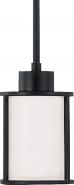 "Odeon Aged Bronze White Drum Glass Mini Pendant Light 5""Wx47""H"