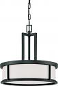"Odeon Aged Bronze Drum Pendant Light 17""Wx17""H"