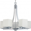 "Bento Polished Chrome Chandelier Satin Glass Shades 26""Wx25""H"