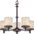 "Decker Bronze Chandelier Glass Shades 25""Wx23""H"